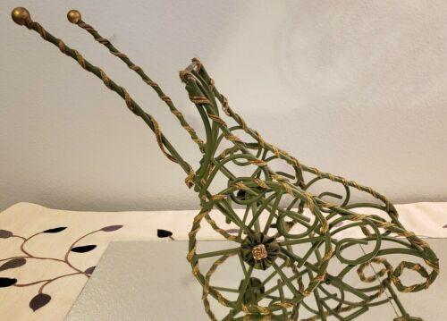 Decorative Metal Green Gold Wheelbarrow Sleigh