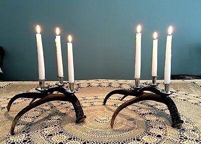 (Set of 2 Stag Antler 3-Arm Candelabra Candle Holders)
