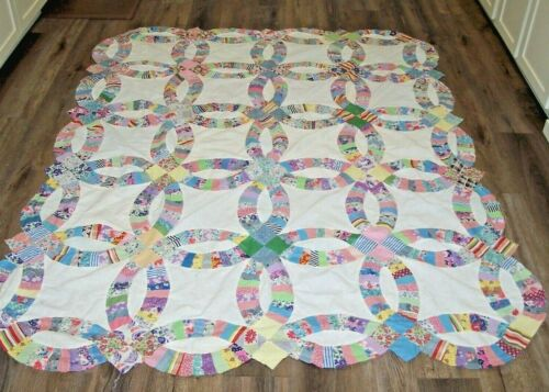 "Vintage Feed Sack Print Double Wedding Ring Quilt Top 84"" x68"""