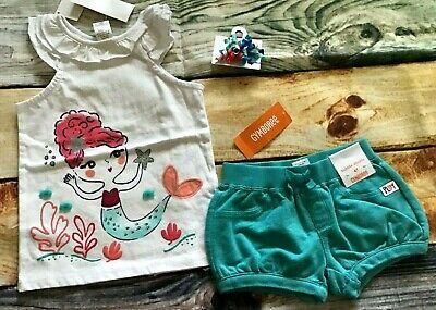 Gymboree 4T Set Mermaid Cove Seashell Top Knit Bubble Shorts Hair Outlet NWT