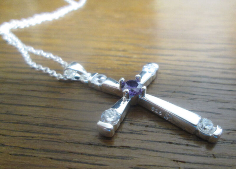 Sterling Silver Cross with Purple and Clear CZ