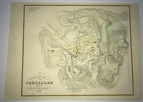PLAN OF JERUSALEM & ENVIRONS 1861 ANTIQUE PLAN 19TH CENTURY