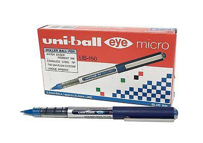 Uniball -ub 150 Uniball Eye Micro Gift Rollerball Pen 0.5 Mm Blue X 12 Pens