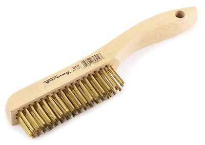 Forney 70519 Wire Scratch Brush, Brass with Wood Shoe Handle, 10-1/4