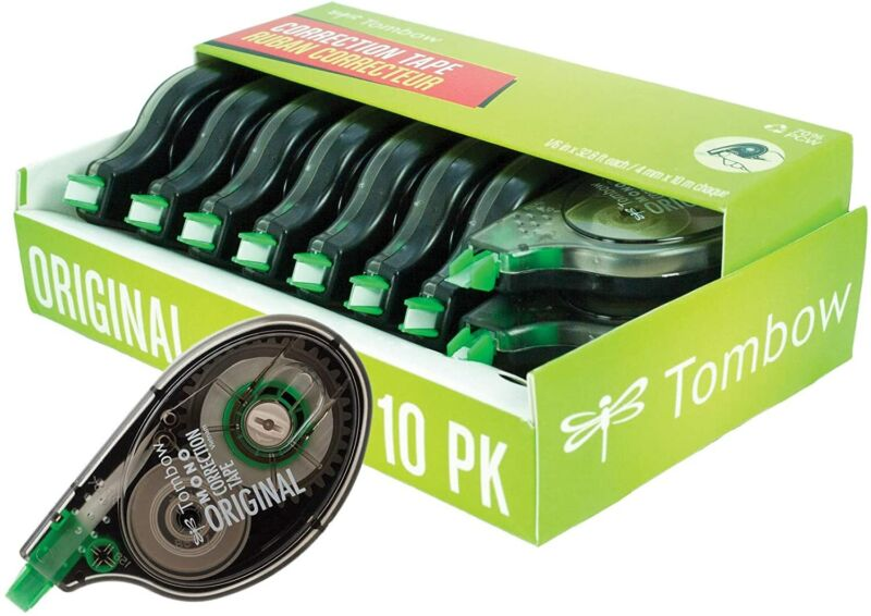 Tombow 68720 Mono Original Correction Tape 10-Pack. Easy To Use Applicator For