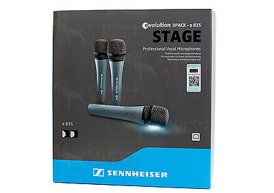 Sennheiser e835 Dynamic Cardioid Vocal Microphone 3-Pack E-835 Three