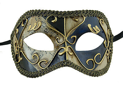 Mask from Venice Colombine Blue Black Golden Costume-Ball Masquerade - 1929