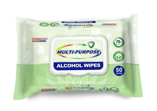 Germisept Multi-Purpose Alcohol Wipes Mad w Plant Based 75% Alcohol (1 Pk 50cont