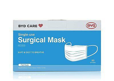 BYD Single Use Procedural Face Mask Non-Sterile Blue - 50 Masks Wholesale NO BOX