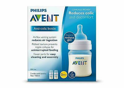Philips Avent Anti-Colic Baby Bottles Clear, 4oz, 2 Piece NIB