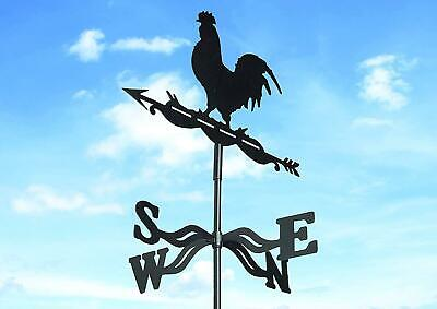 Rustic Cockerel Revolving Weather Vane Country Steel Roof Wall Weathervane Black