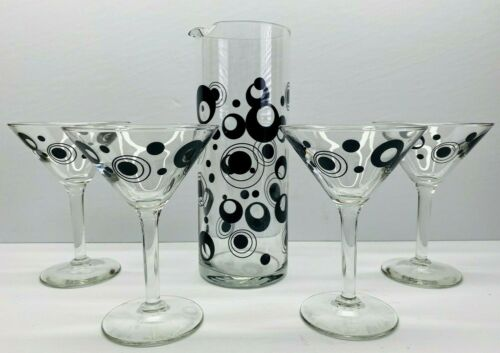 Vintage Libbey 5 Piece Martini Serving Cocktail Set Clear With Retro Black