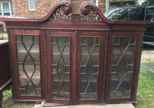 VINTAGE 1850's Buffet-China Cabinet Combo Hand Carved Mahogany-Gorgeous!