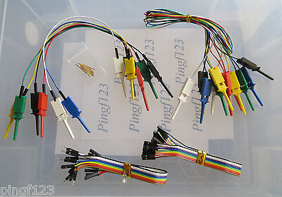 One Lot Mini Grabber Ic Test Clip Jumpers W 200mm Ff Mf Ribbon Wires Pins