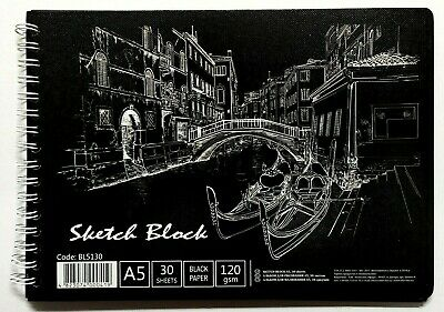 Black Paper Sketchbook for gel pens, metallic pencils, oil pastels