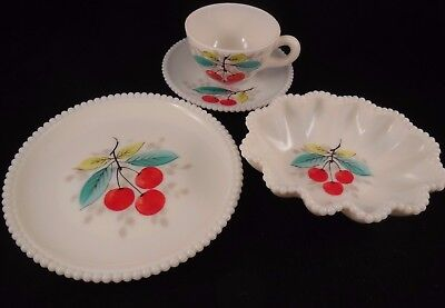 Vintage Westmoreland Fruit Design Milk Glass Luncheon, Fruit and Tea/Coffee Cup