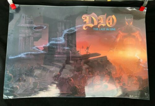 "Original 1984 Dio The Last In Line Poster 35"" x 23"" Warner Bros PROMO - USA Made"