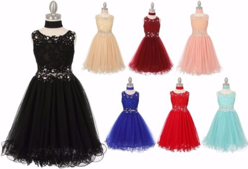 Lace Tulle Flower Girls Dress Pageant Wedding Christmas Party Graduation 5010