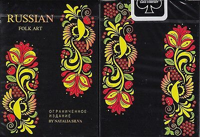 - Russian Folk Art Limited Edition Black Playing Cards Poker Size Deck USPCC 2017