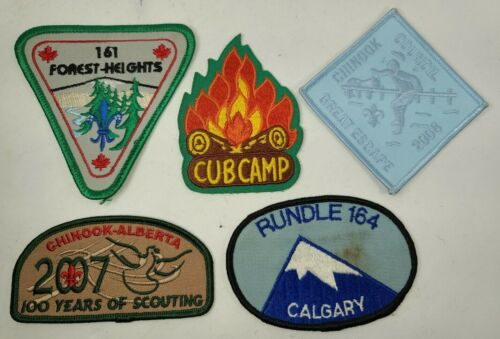 Boy Scouts Cubs Canada Patch Badge Vintage LOT Alberta Chinook Calgary Camp