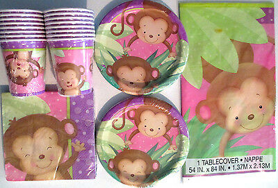 BABY GIRL MONKEY Birthday Party/ Baby Shower Supply Set Pack Kit  w/Balloons