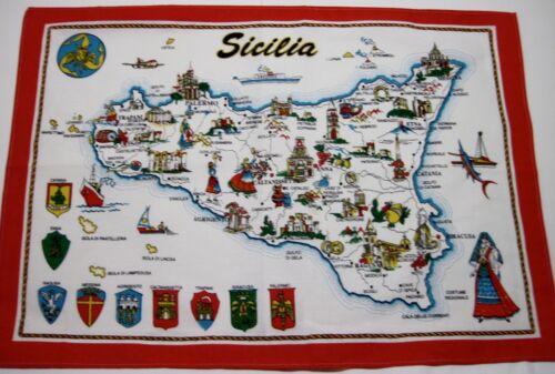 """Vintage """"Sicilia"""" Souvenir Towel - Cotton  26"""" x 18 1/2"""""""