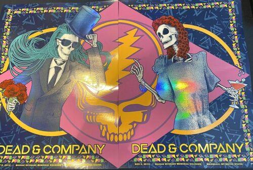 ✌ Dead & Company VIP Nassau NY 2019 Rainbow Foil Print 2 Poster Set S/N #/500