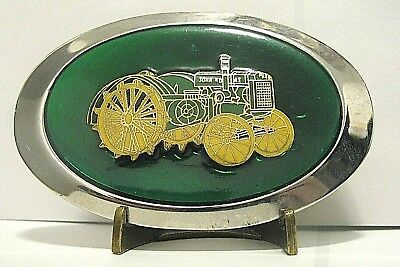 John Deere D Two-Cylinder Letter Series Tractor Belt Buckle jd Steel Wheels