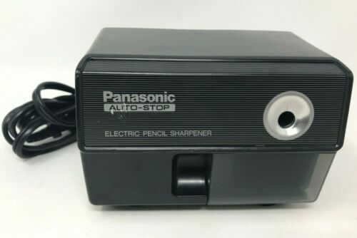Vintage Panasonic Auto-Stop Electric Pencil Sharpener Black - KP-110 Japan WORKS