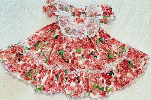 Vintage 1993 BEARLY PEOPLE  Doll Bear Plush FLORAL DRESS