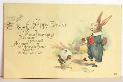 PostCard Happy Easter Peter Rabbit Poem Posted Used Doon Iowa 4-15-1922 Vintage