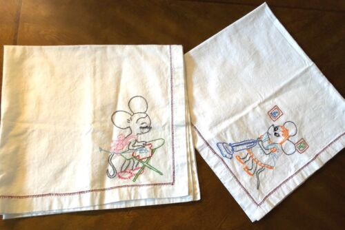 VTG lot of 2 cotton Hand Embroidery Busy Mouse pattern Linen tea towel Cloth