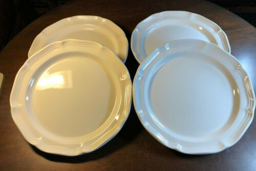 """Four (4) Mikasa FRENCH COUNTRYSIDE 10 7/8"""" White Scalloped Dinner Plates F9000"""