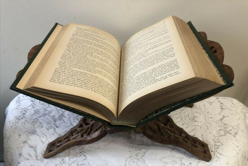 Exquisite Hand Carved Wooden Folding Book Stand Holder