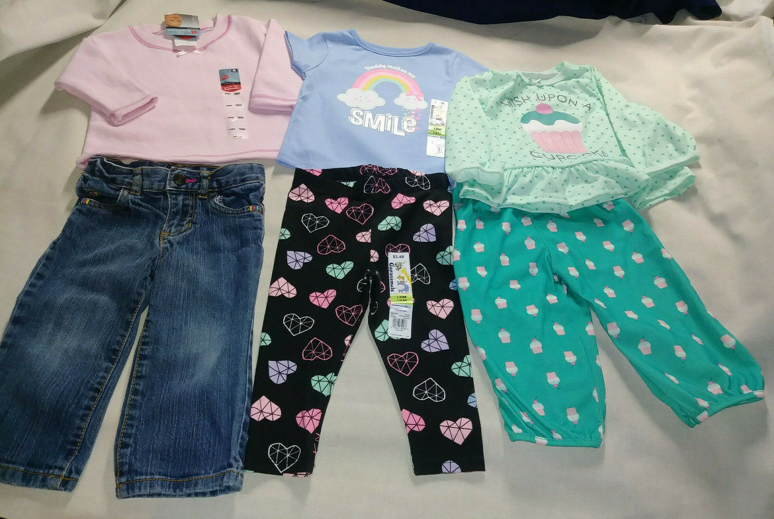 3 outfits 6 pieces girls 12 month Set Jeans tops Cupcake PJs