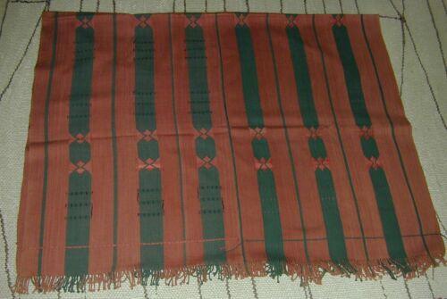 Vtg Naga Tribe India Hand Loomed Red & Black/Blue Weaving Shawl