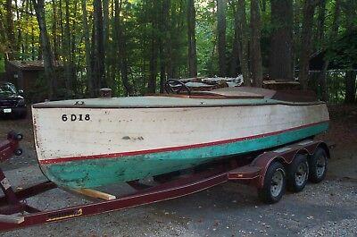 1923 antique/vintage 22ft Toppan Seadog Ocean wooden speedboat  Very Rare