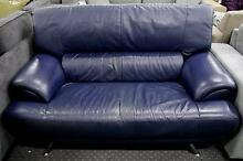 Leather Lounge Sofa Suite Dark Blue Chrome Feet 2 Available Richmond Yarra Area Preview