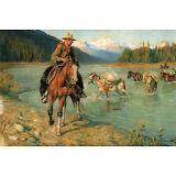 "1907 Philip R. Goodwin,The Pack Train, Horses Cowboy 16""x10"" Art Print"