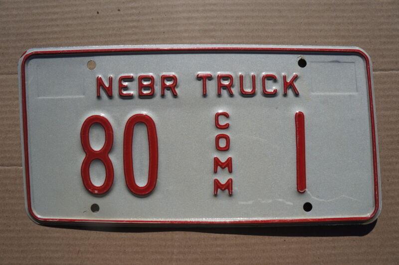Sioux County (#80) Nebraska License Plate Low Digit # 1