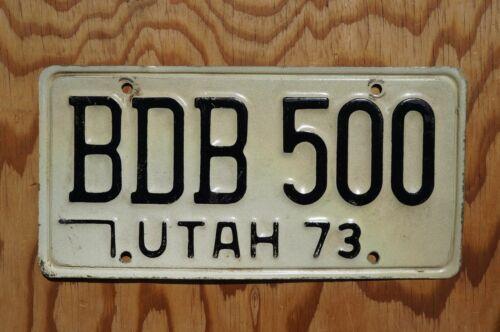 1973 Utah License Plate # BDB 500