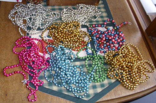 """62.5 feet or 750""""  Vintage Many Colors Glass Bead Chain Garland Christmas"""