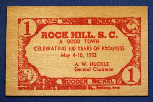 South Carolina wooden nickel flat - 1952 Centennial of Rock Hill, S.C.
