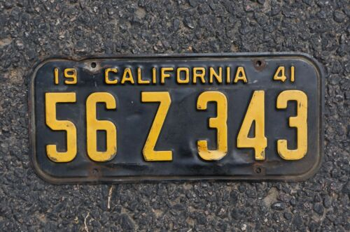 1941 California License Plate - Original Paint