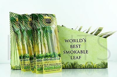 12X King Palm King Size 100  Tobacco Fee Natural Leaf Rols With Corn Husk Filter