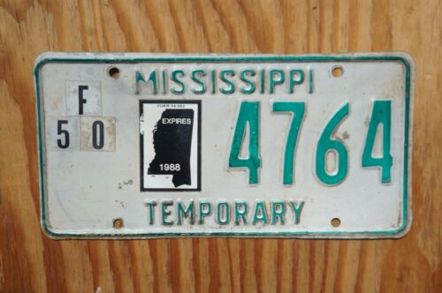 1988 Mississippi TEMPORARY License Plate # 4764