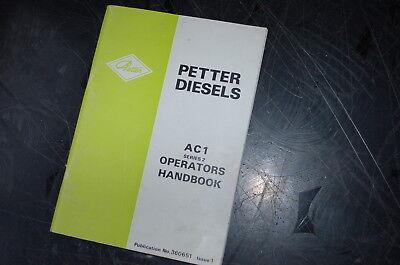 Petter Diesel Ac1 Series 2 Engine Owner Operator Parts Manual Generator Book Oem