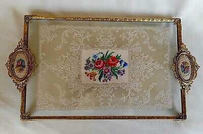 VINTAGE PETIT POINT  -  LACE AND EMBROIDERY TRAY ~  WITH ORMOLU FILIGREE FRAME
