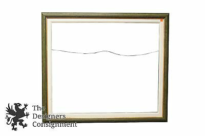 """Vtg Wood Green Off White Shabby Chic Picture 14"""" X 18"""" Frame Cloth Insert"""