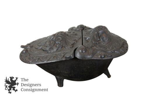 Antique Baroque High Relief Cast Iron Coal Scuttle Art Nouveau Hearth Fireplace